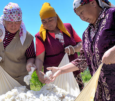 Cotton farmers from the Fairtrade certified Bio Farmer Agricultural Commodity and Service Cooperative, Kyrgyzstan