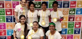 The girls team from Forca Goa Foundation at the Global Goals World Cup.